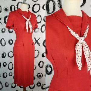 Vintage 50s Sheath Wiggle Dress Red Sailor Collar